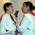 Throat singers Kendra Tagoona and Charlotte Qamaniq performing
