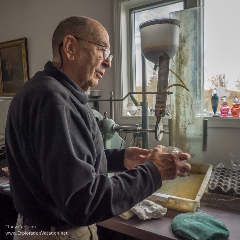 Master engraver Max Erlacher in his Corning New York studio