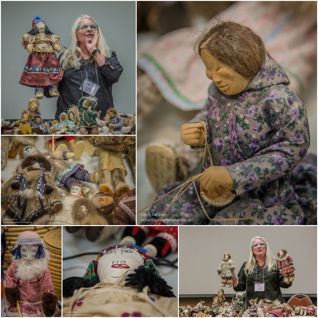 Jan Sivertson plays show-and-tell with a few of her favorite Alaskan and Canadian dolls - photo by Cindy Carlsson