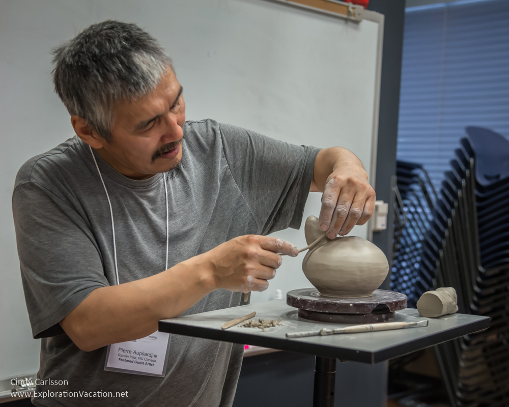 Pierre Aupilardjuk ceramics demonstration IAS 2016 Kenosha WI - photo by Cindy Carlsson