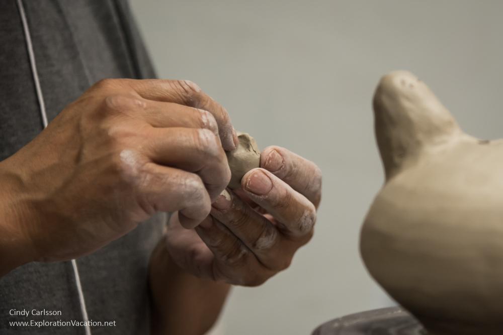 Pierre Aupilardjuk ceramics demonstration IAS 2016 Kenosha WI - photo by Cindy Carlsson