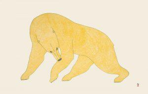 Stonecut print of a large yellow polar bear