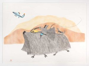 print of a musk ox and airplane